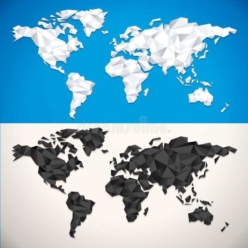 Mappa di mondo bassa di vettore poli illustrazione di stock