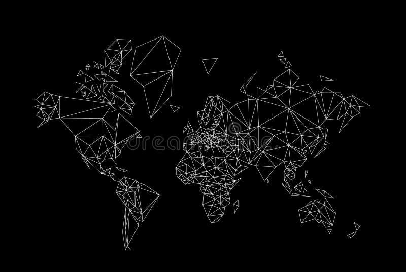 mappa di mondo in basso poli illustrazione di stock