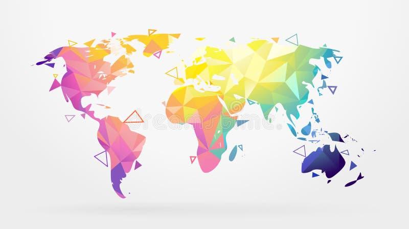 mappa di mondo in basso poli Vettore royalty illustrazione gratis