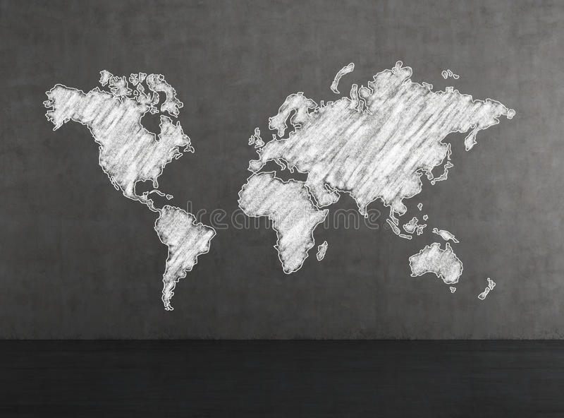 Mappa di mondo bianca fotografia stock