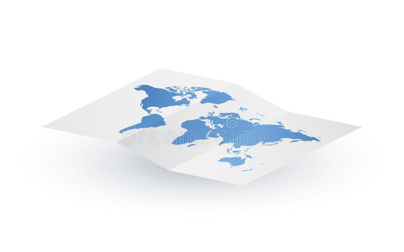 Mappa di mondo in bianco di carta di vettore dell'estratto illustrazione vettoriale