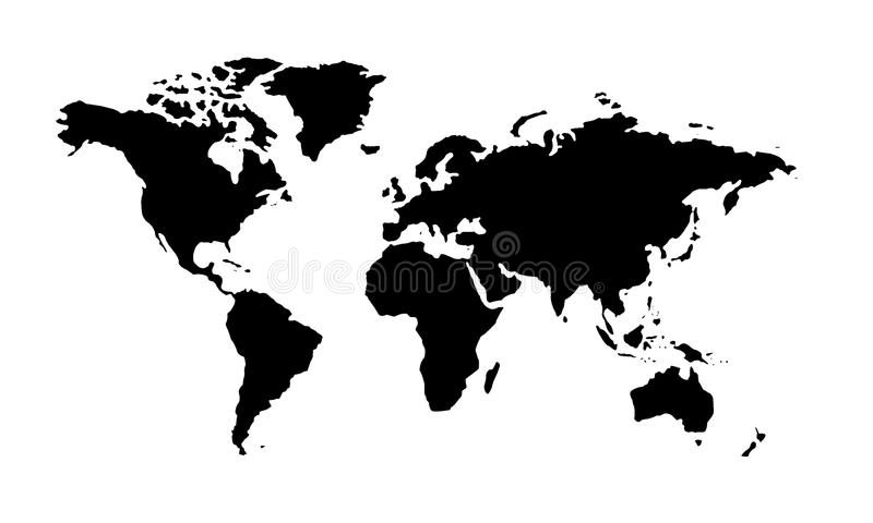 Download Mappa Di Mondo In Bianco E Nero Illustrazione di Stock - Illustrazione di generalità, generato: 55361559