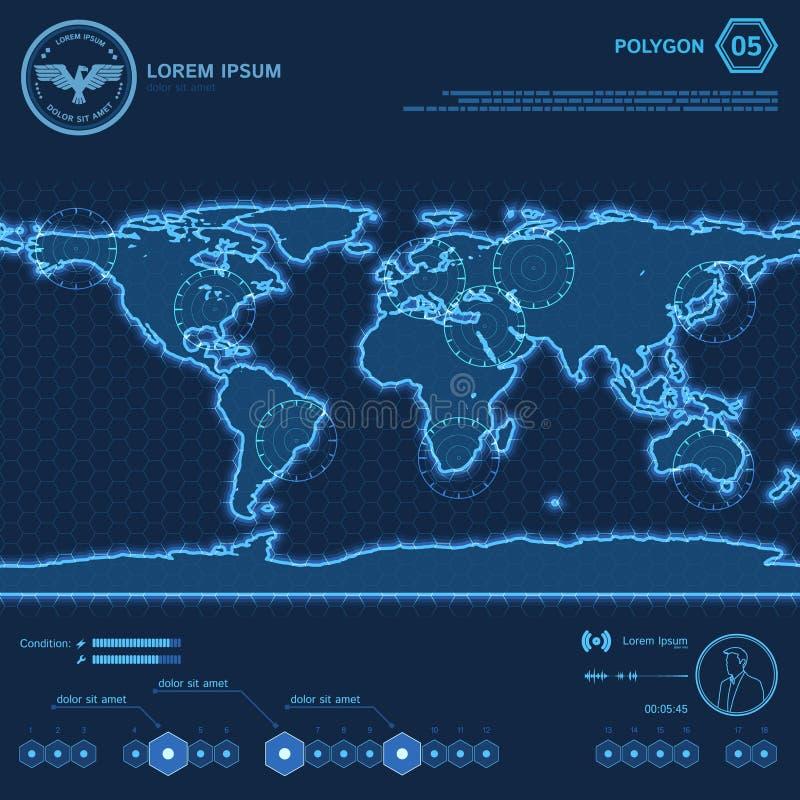 Mappa di mondo blu del poligono HUD Screen royalty illustrazione gratis