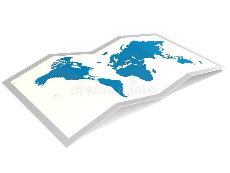 Mappa di mondo in blu isolato illustrazione di stock