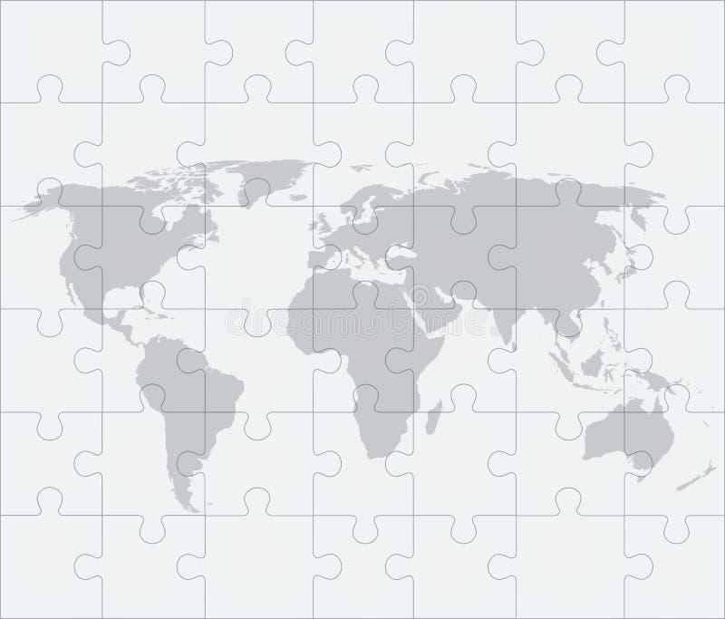 Mappa di mondo con dei puzzle illustrazione vettoriale