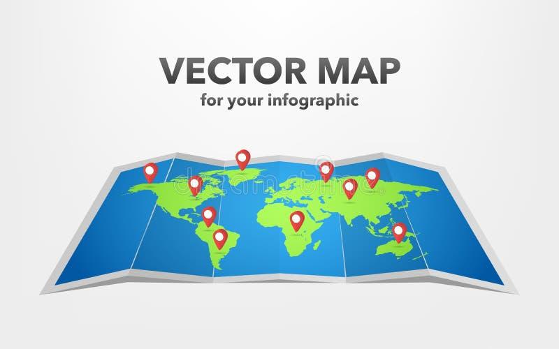 Mappa di mondo con gli elementi infographic, illustrazione di vettore royalty illustrazione gratis