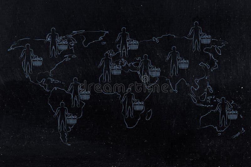 Mappa di mondo con i clienti ed i carrelli pieni universalmente illustrazione vettoriale