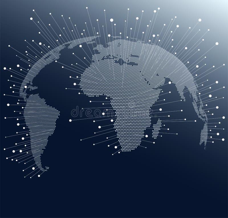 Mappa di mondo con i punti e le linee Collegamenti di rete globale attraverso il globo illustrazione di stock