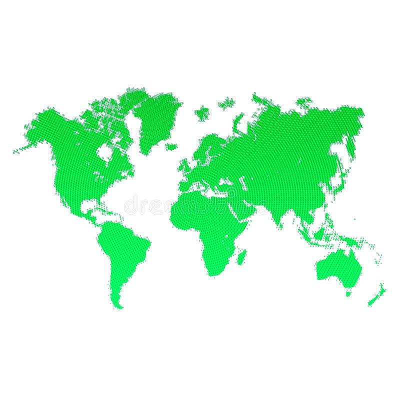 Mappa di mondo con i segni dei dollari Progettazione verde della mappa di mondo Progettazione per il vostro annuncio di affari di royalty illustrazione gratis