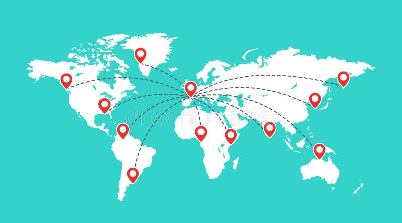 Mappa di mondo con i segni rossi del puntatore Concetto di comunicazione del globo Perni di posizione sulla mappa di viaggio illustrazione di stock