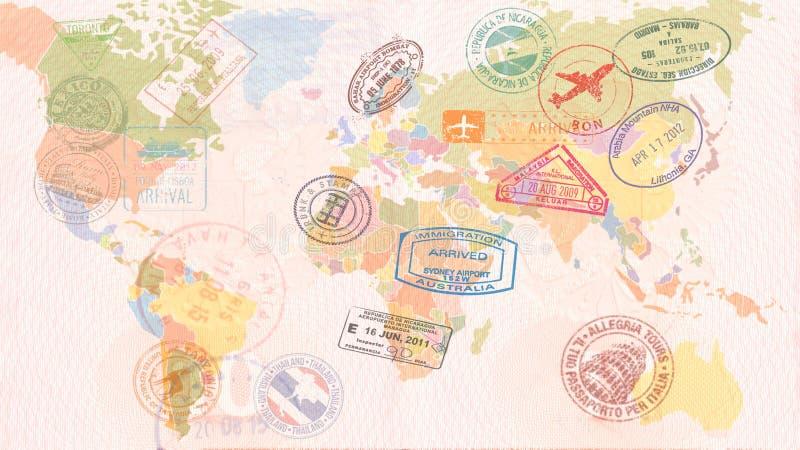 Mappa di mondo con i visti, bolli, guarnizioni concetto di corsa illustrazione vettoriale