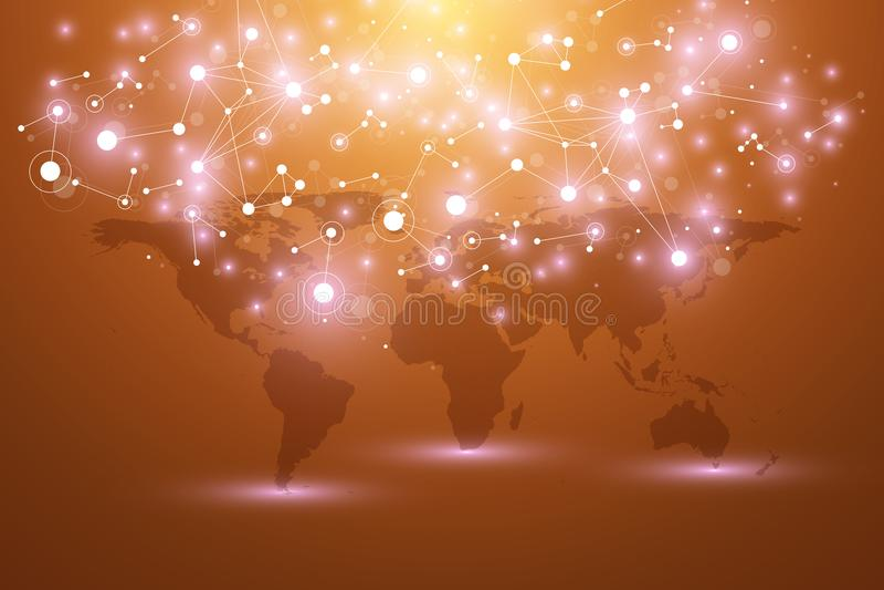 Mappa di mondo con il concetto globale della rete di tecnologia Visualizzazione di dati di Digital Allinea il plesso Grande fondo royalty illustrazione gratis