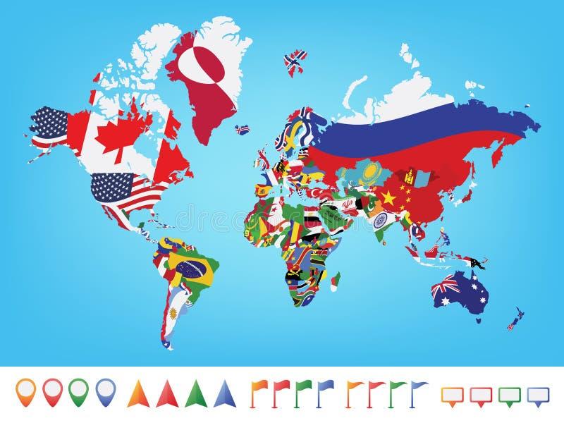 Mappa di mondo con la bandiera royalty illustrazione gratis
