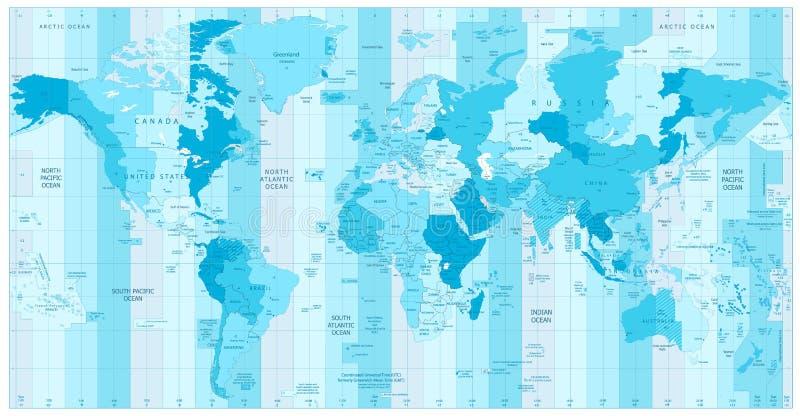 Mappa di mondo con le fasce orarie standard a colori del blu royalty illustrazione gratis