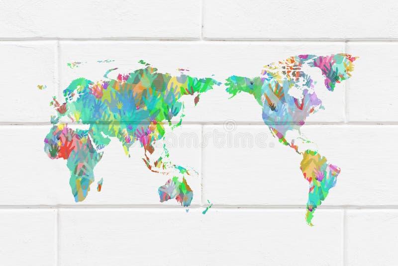 Mappa di mondo con le mani nei colori differenti immagine - Immagine di terra a colori ...