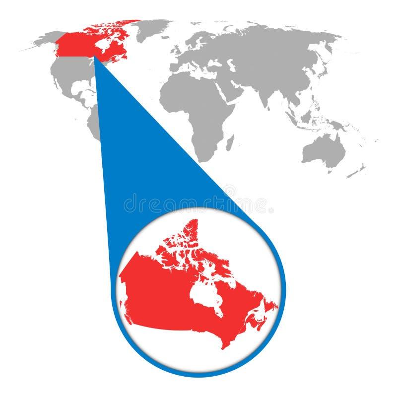 Mappa di mondo con lo zoom sul Canada Mappa in lente di ingrandimento illustrazione di stock