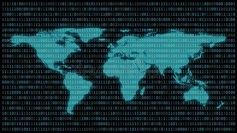 Mappa di mondo con 01 o numeri binari sullo schermo di computer sul codice del fondo della matrice del monitor, di dati di Digita royalty illustrazione gratis