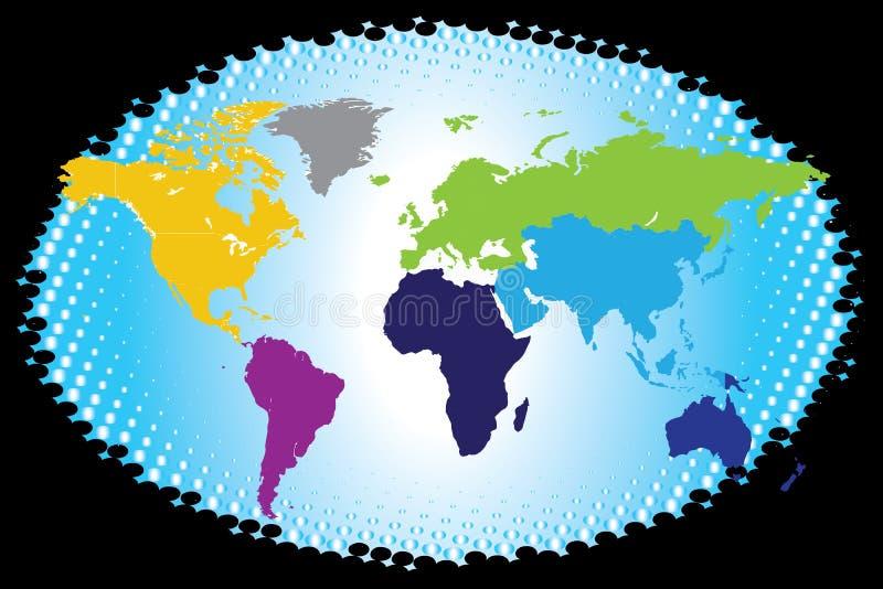 Mappa di mondo continentale variopinta illustrazione di stock