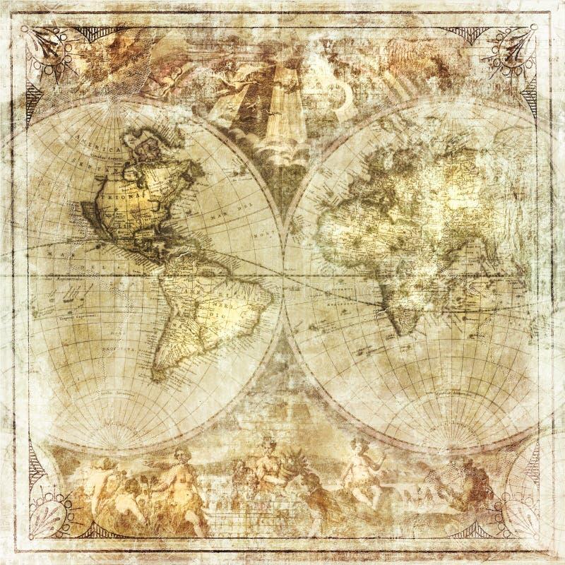 Mappa di mondo d'annata royalty illustrazione gratis