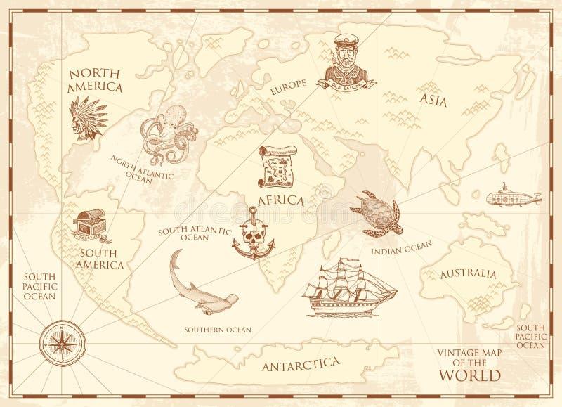 Mappa di mondo d'annata con la bussola e le montagne Creature del mare nell'oceano Tesoro invecchiato capitano e ancora marini royalty illustrazione gratis