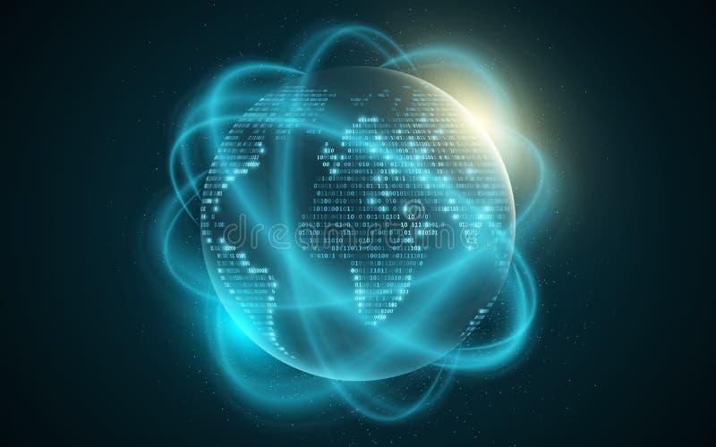 Mappa di mondo dal codice binario Terra astratta del pianeta Linee vaghe movimento Priorità bassa futuristica Codice di programma illustrazione vettoriale