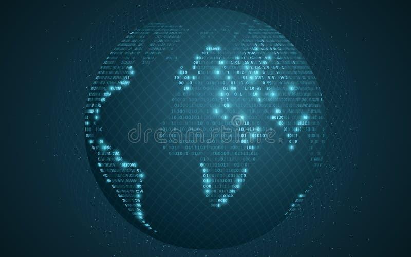 Mappa di mondo dal codice binario Terra astratta del pianeta Modello trasparente dalla griglia Priorità bassa futuristica E royalty illustrazione gratis