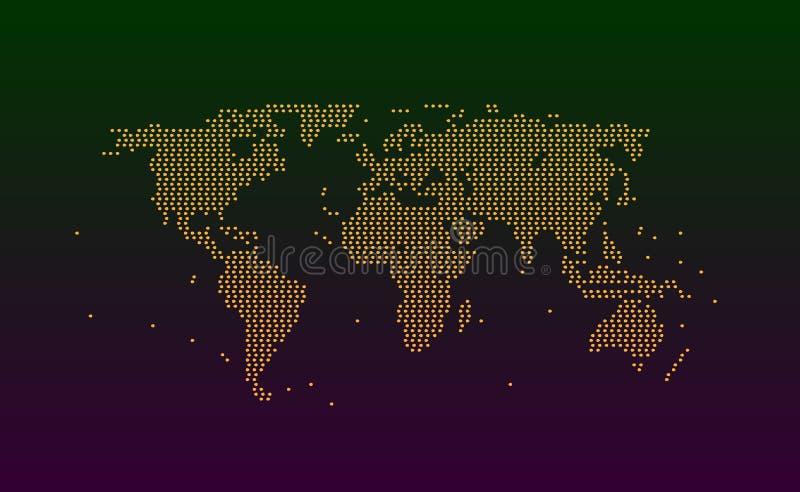 Mappa di mondo dalle particelle del punto o dal colore arancio dei cerchi La struttura del fondo collega o spruzza del lerciume d illustrazione di stock