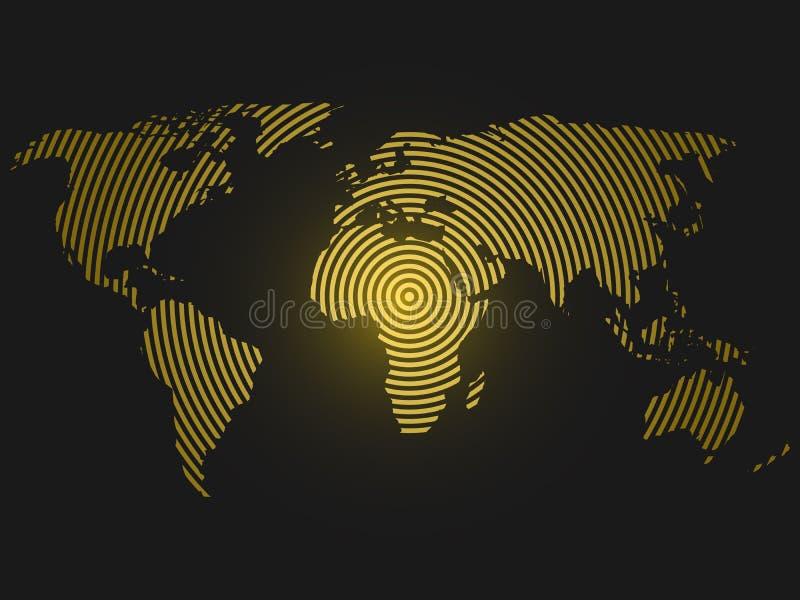 Mappa di mondo degli anelli concentrici gialli su fondo grigio scuro Progettazione moderna di comunicazione di concetto mondiale  illustrazione vettoriale