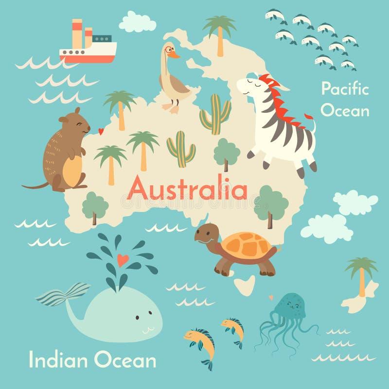 Mappa di mondo degli animali, Australia royalty illustrazione gratis