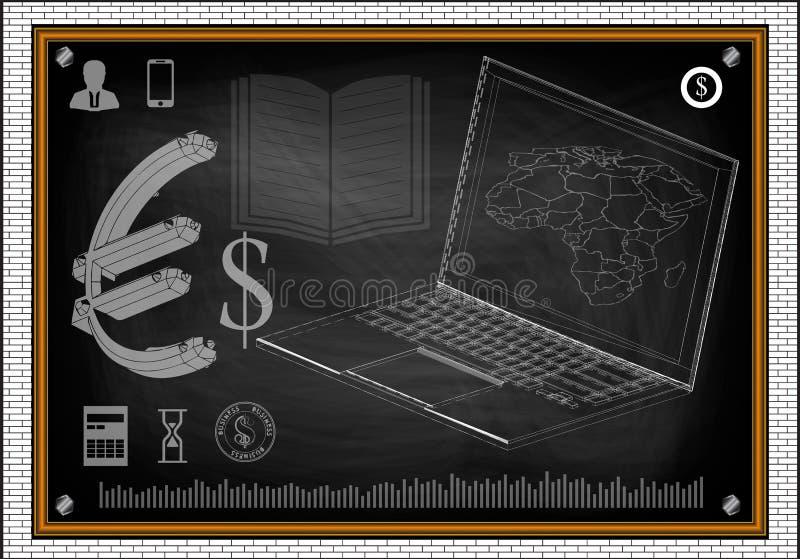 Mappa di mondo del computer portatile royalty illustrazione gratis