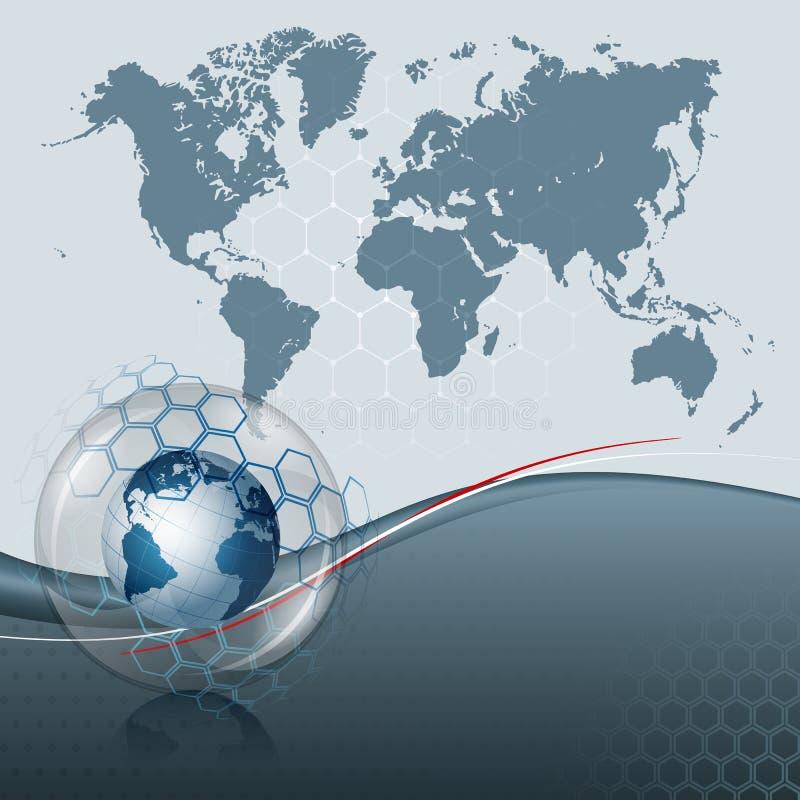 Mappa di mondo del grafico di computer e globo astratti della terra dentro la sfera di vetro illustrazione vettoriale
