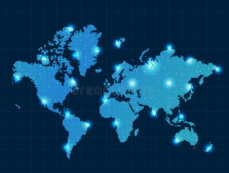 Mappa di mondo del pixel royalty illustrazione gratis