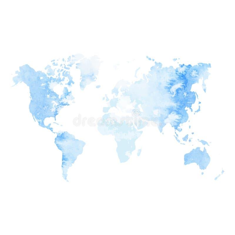 Mappa di mondo dell'acquerello illustrazione di stock