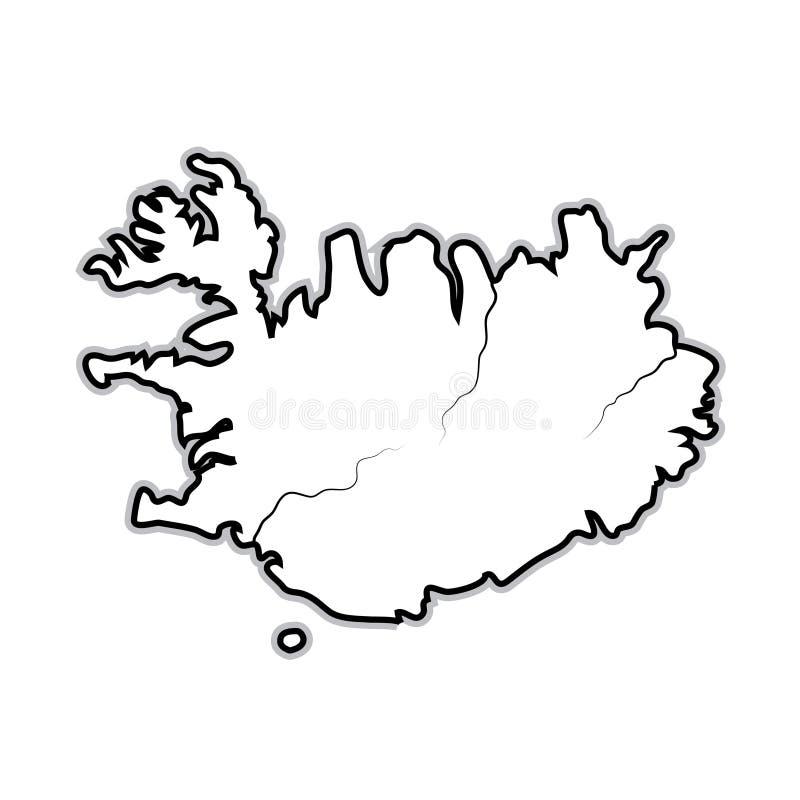Mappa di mondo dell'ISLANDA: L'Islanda, Scandinavia, Europa del nord, l'Oceano Atlantico Grafico geografico illustrazione di stock