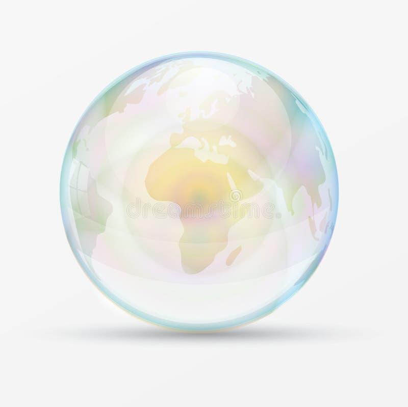 Mappa di mondo della bolla dell'arcobaleno royalty illustrazione gratis