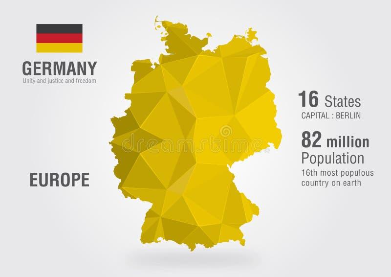 Mappa di mondo della Germania con un modello del diamante del pixel fotografia stock libera da diritti