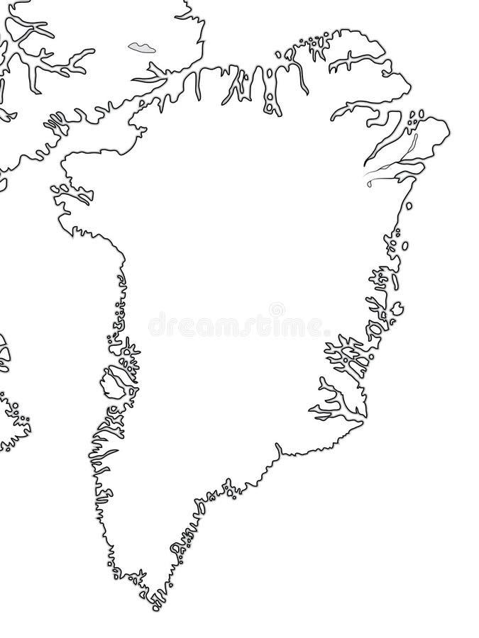 Mappa di mondo della GROENLANDIA: La Groenlandia, arcipelago artico, l'Oceano Atlantico Grafico geografico royalty illustrazione gratis