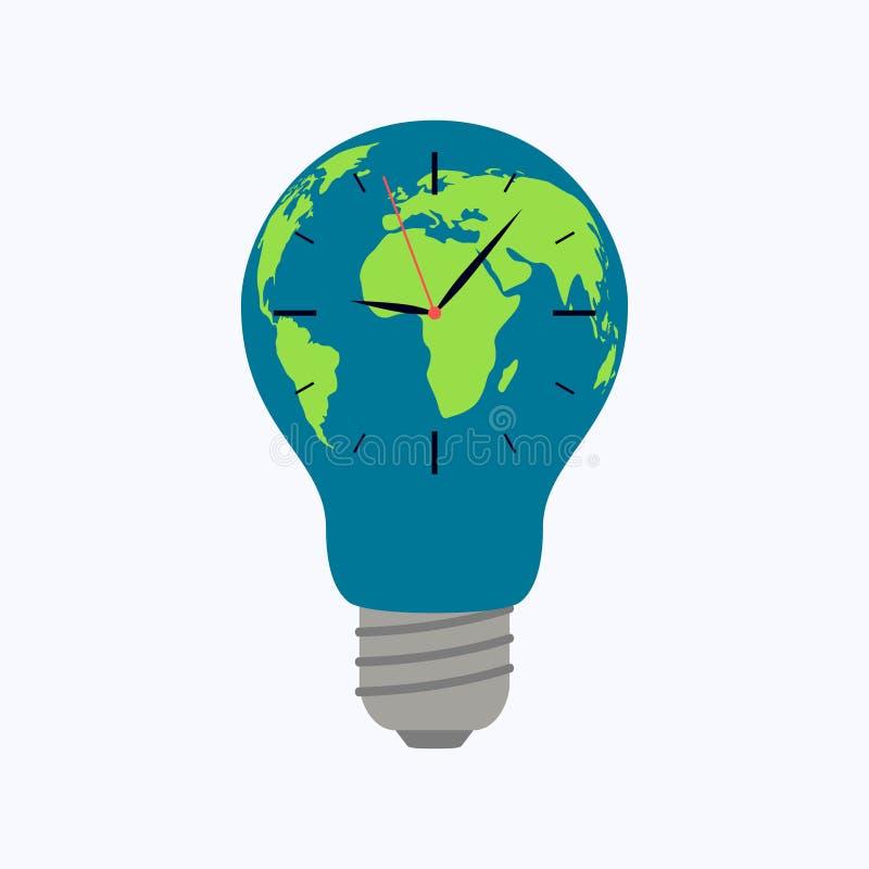 Mappa di mondo della lampadina con l'orologio su fondo bianco illustrazione di stock