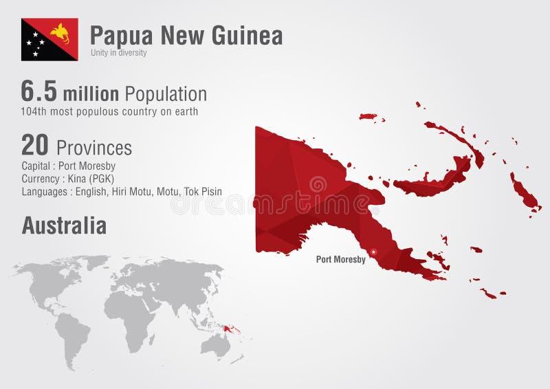 Mappa di mondo della Papuasia Nuova Guinea con una struttura del diamante del pixel royalty illustrazione gratis