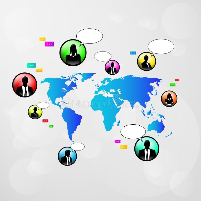 Mappa di mondo delle icone di comunicazione della rete sociale royalty illustrazione gratis