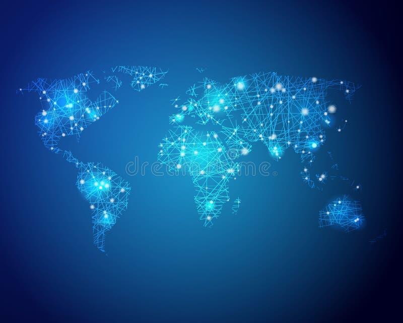Mappa di mondo di tecnologia illustrazione di stock