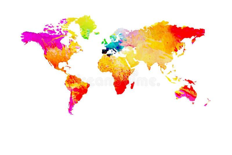 Mappa di mondo dipinta con l'acquerello isolato su fondo bianco illustrazione vettoriale
