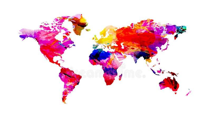 Mappa di mondo dipinta con l'acquerello su fondo bianco illustrazione di stock
