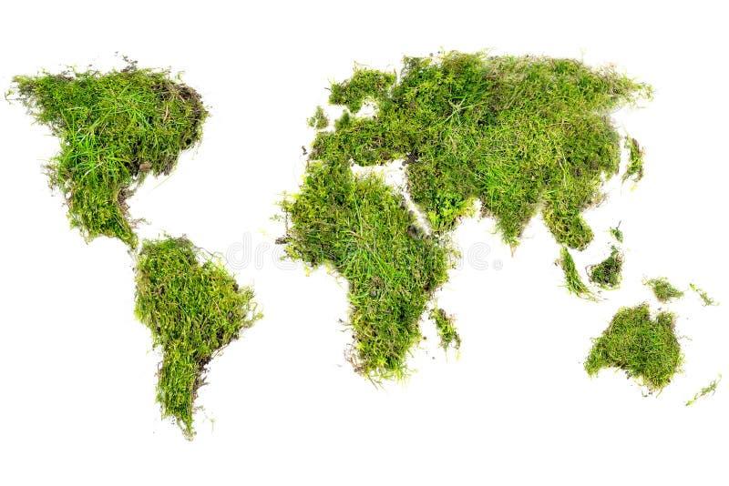 Mappa di mondo disposta di tappeto erboso naturale con muschio, isolato su bianco fotografia stock libera da diritti