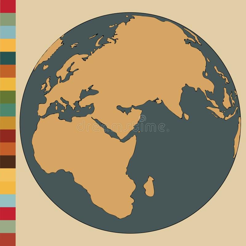 Mappa di mondo e dettaglio del globo illustrazione vettoriale