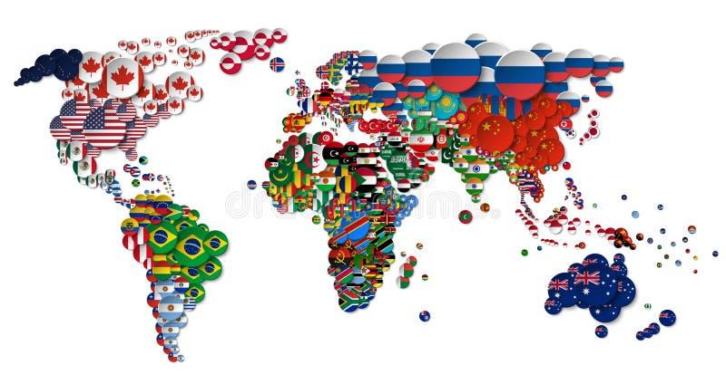 Mappa di mondo e tutte le bandiere di paese nazionali del cerchio progettazione 3D Concetto creativo Vettore royalty illustrazione gratis