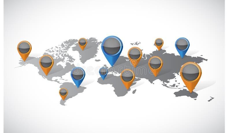Mappa di mondo ed illustrazione degli indicatori di posizione del puntatore illustrazione vettoriale