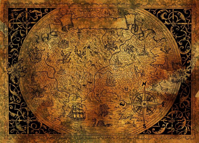Mappa di mondo di fantasia d'annata con la nave di pirata, bussola, draghi su vecchia struttura di carta illustrazione vettoriale