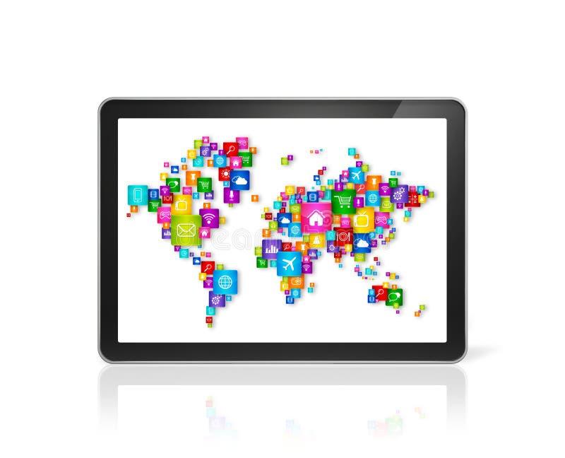 Mappa di mondo fatta delle icone sul PC digitale della compressa Nuvola che computa il co illustrazione di stock