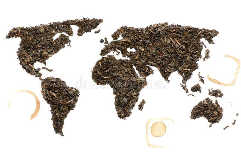 Mappa di mondo fatta di tè immagini stock